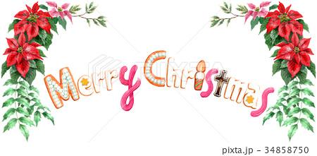 水彩で描いたメリークリスマスの文字クッキー 34858750