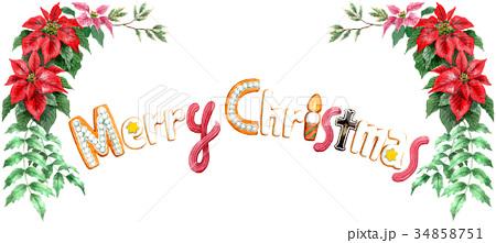 水彩で描いたメリークリスマスの文字クッキー 34858751