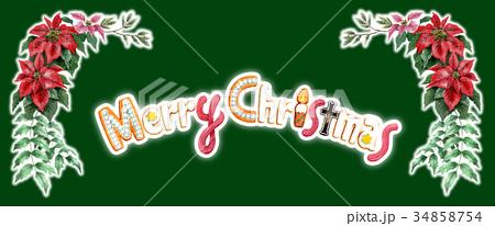 水彩で描いたメリークリスマスの文字クッキー 34858754