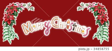 水彩で描いたメリークリスマスの文字クッキー 34858755