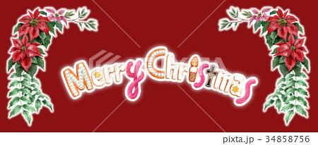 水彩で描いたメリークリスマスの文字クッキー 34858756