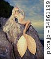 Beautiful mermaid sitting on rock 34861199