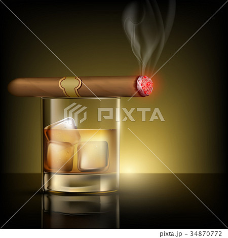 glass of whiskey with ice cubes and cigar 34870772