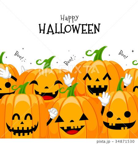 Group Of Cute Cartoon Pumpkin Character Design のイラスト素材