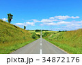 北海道 夏の青空と直線道路 34872176