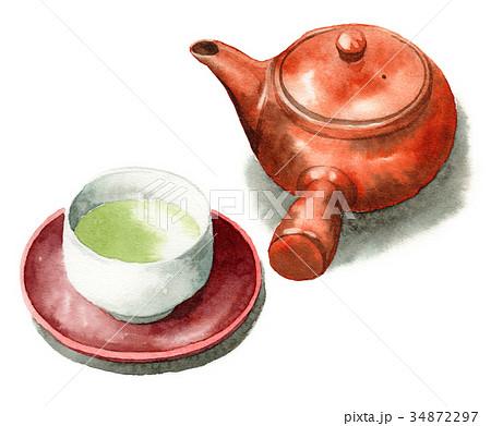 水彩で描いた急須と緑茶の入った湯呑み 34872297