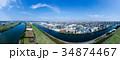 空撮パノラマ 荒川と戸田公園 34874467