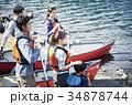 カヌーを漕ぐ家族 34878744