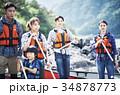 カヌーを漕ぐ家族 34878773