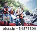 カヌーを漕ぐ家族 34878800
