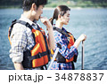カヌーを漕ぐカップル 34878837