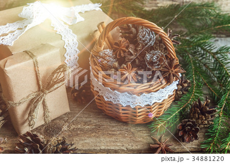 Christmas decorations on a wooden backgroundの写真素材 [34881220] - PIXTA