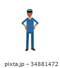 Airline pilot in blue uniform standing with hands 34881472