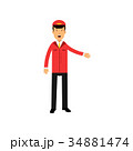 Airline pilot in red uniform doing a welcome 34881474