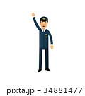 Airline pilot in blue uniform standing standing 34881477