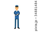 Airline pilot in blue uniform standing with folded 34881484