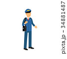 Airline pilot in blue uniform standing with bag 34881487