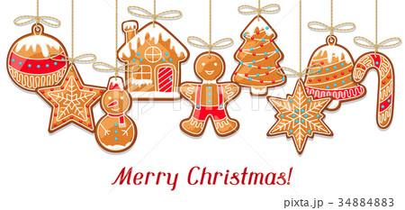 Merry Christmas greeting card with hanging 34884883