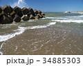海 消波ブロック 波の写真 34885303