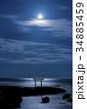 茨城県大洗町 磯前神社 月夜の神磯の鳥居 34885459