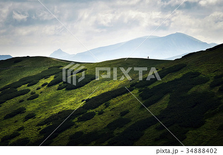 a man on the horizon in the mountainsの写真素材 34888402 pixta