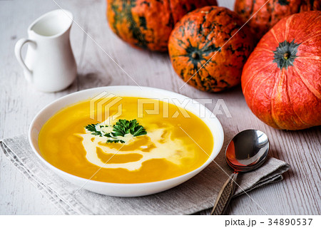 Pumpkin soup with cream and parsley. Vegan food 34890537
