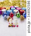 クリスマスイメージ(サンタとスノーマン) 34892586