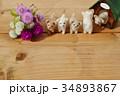 フェルトの子犬とセンニチコウと犬小屋 34893867