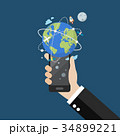 Hand holding smartphone with global network 34899221