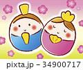 雛祭り 桃の節句 お雛様のイラスト 34900717