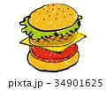 ハンバーガー 水彩画 洋食のイラスト 34901625