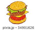 ハンバーガー 水彩画 洋食のイラスト 34901626