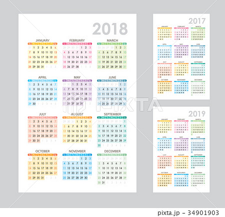 colorful calendar template for 2017 2018 2019 のイラスト素材