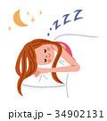眠る女性 夜 34902131