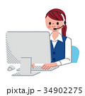 女性 パソコン オペレーターのイラスト 34902275
