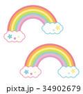 ゆめかわいい色の虹と雲 パステルカラー 34902679