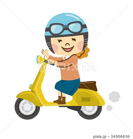 バイクに乗る女性のイラスト素材 34906636 Pixta