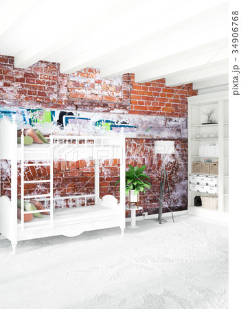 Vertical concept of loft nursery in modern style 34906768