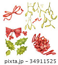 Christmas set with xmas mistletoe and bow 34911525