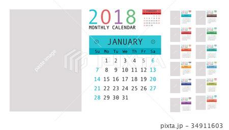 2018 calendar planner designのイラスト素材 34911603 pixta