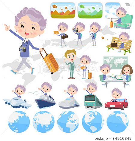 blue one piece old women_travel 34916845