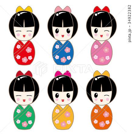 日本人素材・こけし・人形セット(少女) 34922382
