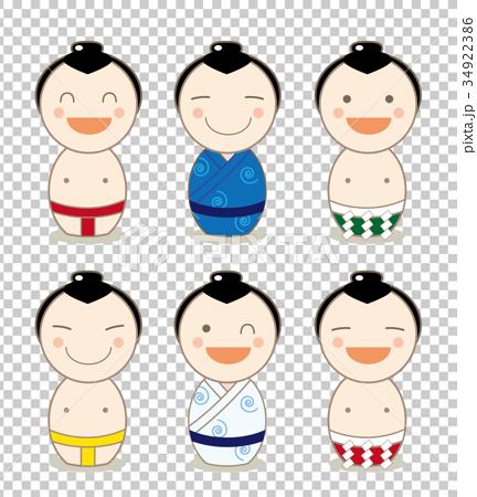 日本人素材・こけし・人形セット(力士) 34922386
