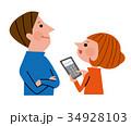 計算機を見て笑顔の夫婦 34928103