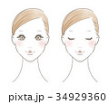 女性の顔 正面(色つき) 34929360