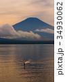 富士山 白鳥 夕暮れの写真 34930062