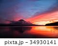 富士山 夕焼け 山中湖の写真 34930141