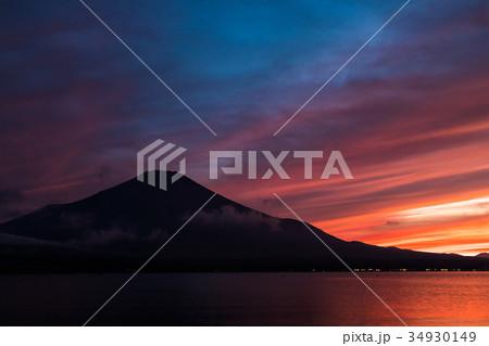 富士山 夕焼け 台風一過 山中湖 34930149