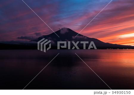 富士山 夕焼け 台風一過 山中湖 34930150