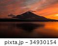 富士山 夕焼け 山中湖の写真 34930154